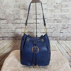 Iman Hobo Blue Handbag Purse W/Gold Hardware